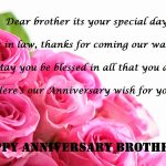 First Wedding Anniversary Wishes For Brother Facebook